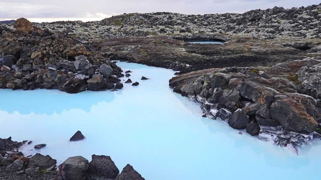 Blue Lagoon Iceland on a cloudy day