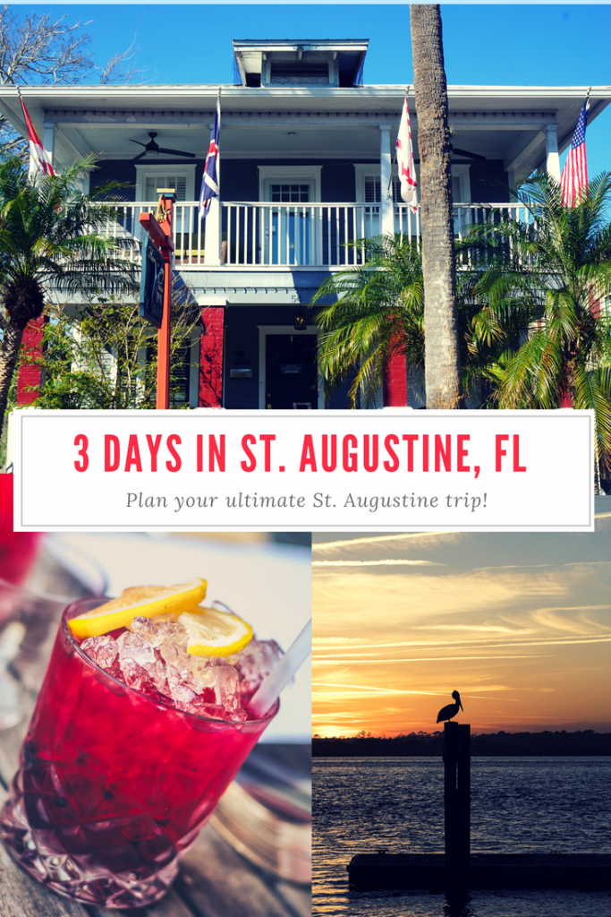 Plan your perfect 3 days in St. Augustine, Florida! Explore the old fort, visit the beach, take a ghost tour, and sip on some craft cocktails! #staugustine #florida #travelflorida #travelblogger #anastasiastatepark #castillodesanmarcos