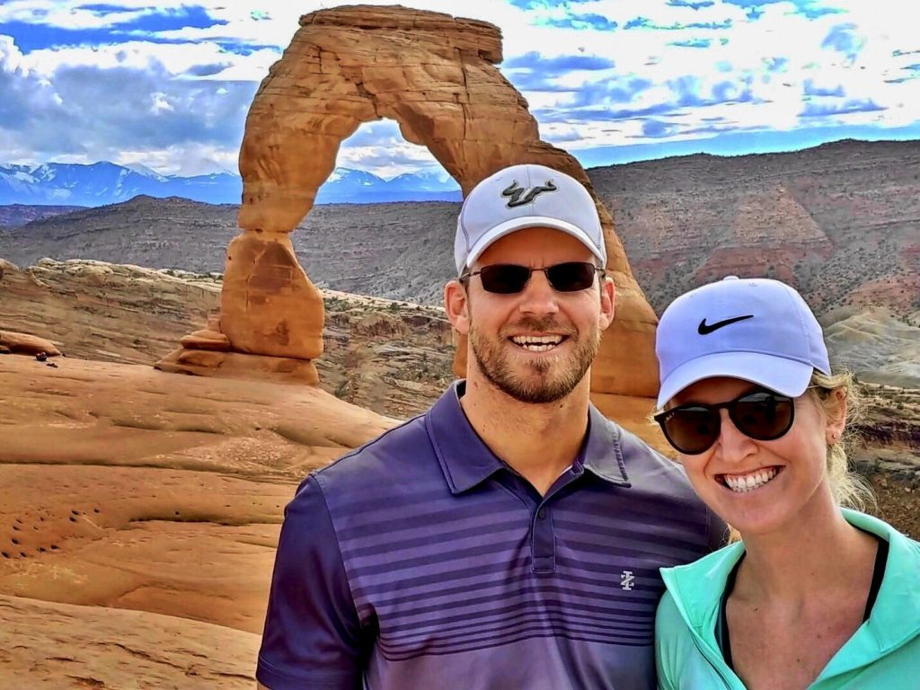 After arriving to the Delicate Arch in Arches National Park in Moab, Utah
