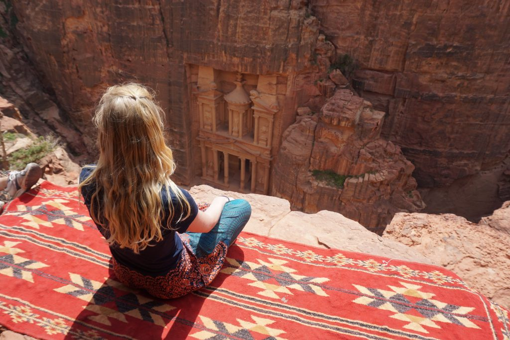 the Treasury in Petra, Jordan - sitting on a blanket overlooking