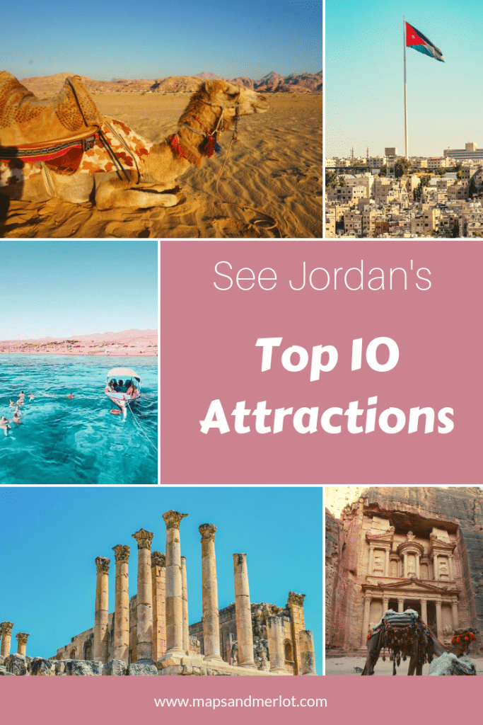 Discover the 10 top tourist attractions in Jordan! This pinnable image shows a camel in Wadi Rum, multiple images from Amman, Jordan, Petra, and the Red Sea off the coast of Aqaba, Jordan.