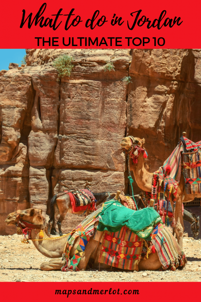 Discover the 10 top tourist attractions in Jordan! This pinnable image shows camels in a desert in Jordan