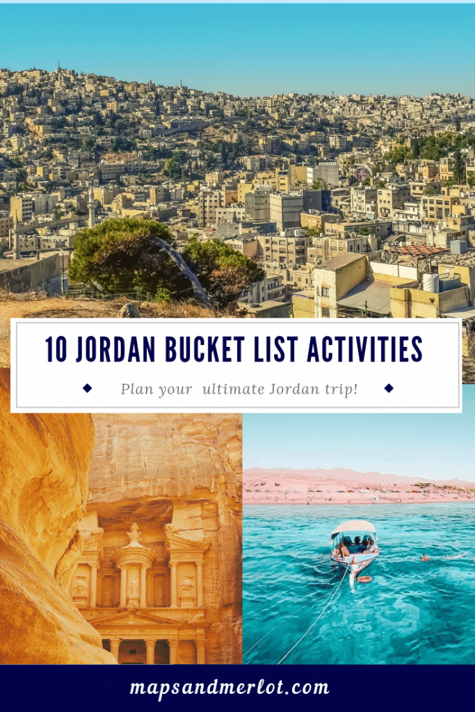 Discover the 10 top tourist attractions in Jordan! This pinnable image shows Amman, Jordan; Petra; and the Red Sea in Aqaba, Jordan.