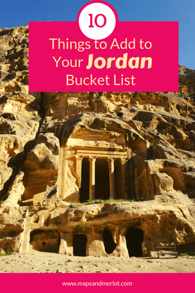 Discover the 10 top tourist attractions in Jordan! This pinnable image shows Little Petra