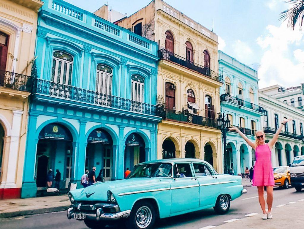 decorative buildings and convertible in Havana, Cuba