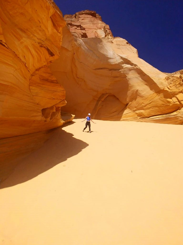 hiking through sugar sand to the Great Chamber at Cutler Point