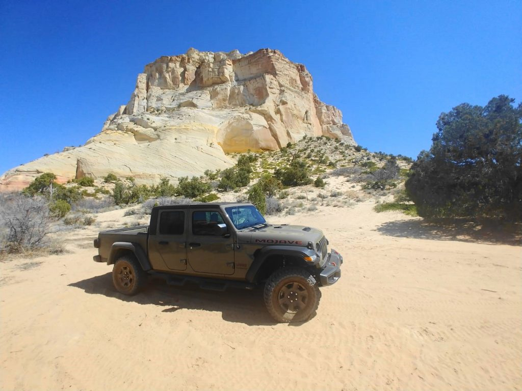 Our Jeep Gladiator in front of the Great Chamber at Cutler Point